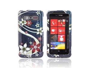 Pink White Flowers on Blue Plastic Snap On Case For HTC Trophy