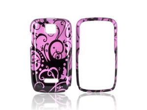 Black Swirls Design On Purple Plastic Snap On For Motorola Theory