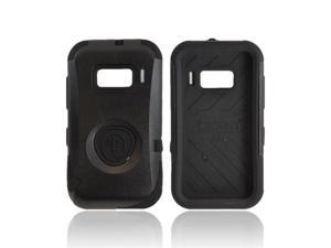 Black OEM Trident Aegis Alcatel One Touch 918 Hard Cover Over Rubbery Soft Silicone Skin Case W/ Screen Protector