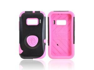 Pink/Black OEM Trident Aegis Alcatel One Touch 918 Hard Cover Over Rubbery Soft Silicone Skin Case W/Screen Protector