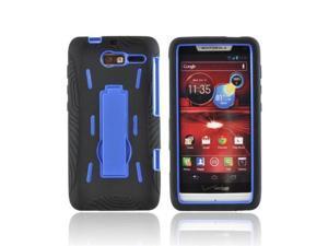 Motorola Droid RAZR M Silicone Over Plastic Cover W/ Stand - Black/ Blue