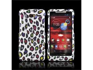 Motorola Droid RAZR M Rubberized Plastic Cover - Rainbow Leopard On White
