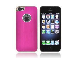 Apple Iphone 5 Hard Back Case W/ Aluminum - Hot Pink