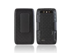 Motorola Droid 4 Rubberized Textured Plastic Cover W/ Stand & Belt Clip Combo - Black