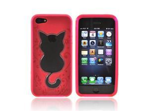 Apple Iphone 5 Crystal Rubbery Soft Silicone Skin Case - Hot Pink W/ Cat Imprint