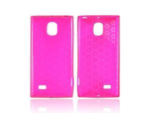 Hot Pink Hex Star OEM Multipro LG Spectrum 2 Crystal Rubbery Soft Silicone Skin Case