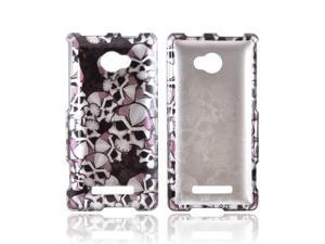 Silver Skulls On Black HTC 8x Plastic Snap On Cover