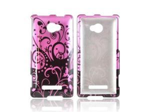Black Swirls Design On Purple HTC 8x Plastic Snap On Cover
