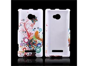 Rainbow Autumn Flowers On White HTC 8x Rubberized Plastic Snap On Cover
