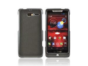 Black/ Gray Carbon Fiber Design Motorola Droid RAZR M Plastic Snap On Cover
