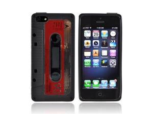 Black Cassette Apple Iphone 5 Crystal Rubbery Soft Silicone Skin Case