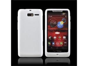 White Motorola Droid RAZR M Rubbery Soft Silicone Skin Case