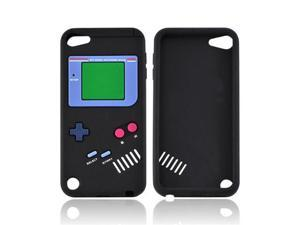 Black Retro Pocket Gamer Apple Ipod Touch 5 Rubbery Soft Silicone Skin Case