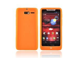Orange Motorola Droid RAZR M Rubbery Soft Silicone Skin Case