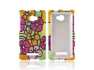 HTC 8x Shiny Sparkling Gem Plastic Cover - Green/Hot Pink/Yellow Hawaiian Flowers