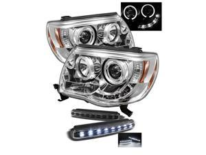 Toyota Tacoma Halo LED ( Replaceable LEDs ) Chrome Projector Headlights & LED Day Time Running Light Package