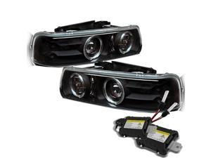 Chevy Silverado 1500/2500/3500 / Chevy Suburban 1500/2500 / Chevy Tahoe Halo LED ( Replaceable LEDs ) Black Projector Headlights ...