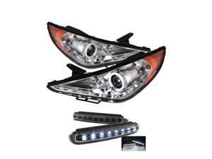 Hyundai Sonata 11-12 CCFL DRL LED Projector Headlights - Chrome & LED Day Time Running Light Package