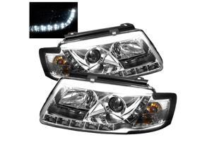 Carpart4u Volkswagen Passat 97-00 1PC DRL LED Projector Headlights & Koshin Platinum White Halogen Light Bulbs package