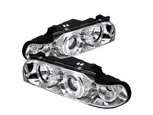 BMW E38 7-Series 1PC Halo Chrome Projector Headlights & LED Day Time Running Light Package