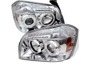Dodge Magnum Halo LED ( Replaceable LEDs ) Chrome Projector Headlights & LED Day Time Running Light Package