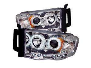 Dodge Ram 1500/2500/3500 CCFL LED ( Replaceable LEDs ) Chrome Projector Headlights & LED Day Time Running Light Package