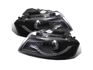 CG AUDI A3 06-09 PROJECTOR HEADLIGHT BLACK CLEAR(R8 LED STYLE) 02-AZ-AA306-PBC PAIR