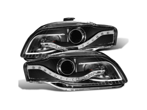 CG AUDI A4 05-09 PROJECTOR HEADLIGHT BLACK CLEAR(R8 LED STYLE) 02-AZ-AA407-PBC PAIR NON for HID mode