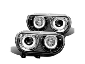 CG DODGE CHALLENGER 08-10 PROJECTOR HEADLIGHT DUAL HALO BLACK CLEAR (CCFL) 02-AZ-DCH08-PBC-2RF PAIR