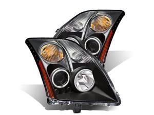 CG NISSAN SENTRA 07-UP PROJECTOR HEADLIGHT HALO W/O CCFL BAR BLACK CLEAR AMBER (CCFL) 02-AZ-NS07-PBC-RFN-A PAIR