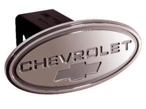 """Defenderworx Chevy Silver w/ Silver Bowtie Oval 2"""" Billet Hitch Cover 31014"""