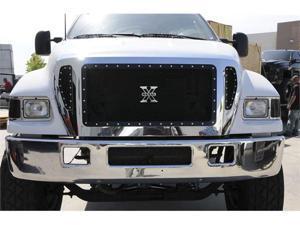 T-REX 2004-2009 Ford F650 X-METAL Series - Studded Main Grille - ALL Black - 4 Pc Custom (Cut Center Bars) - Includes Bumper ...