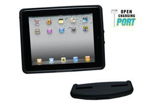 iPad 1 Standard Case and Car Mount Head Rest - Rubber Black Soft Touch
