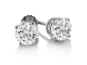 1ct Diamond Stud Earrings in 14K White Gold (SI1-2 G/H) IGL Certified