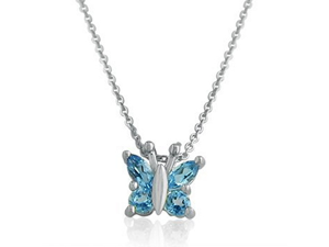 "Sterling Silver Swiss Blue Topaz  Butterfly Pendant .60ct tw 18"" Necklace"
