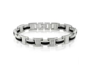 Oxford Ivy GSSB141 8 1/4 Inches Men's Stainless Steel and Black Rubber Chain Link Bracelet