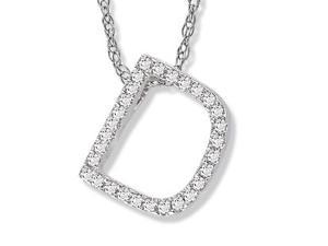 "14K White Gold Diamond ""D"" Initial Pendant, 16"" Necklace"