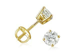 1/2ct Diamond Stud Earrings set in 14K Yellow Gold with Screw-Backs
