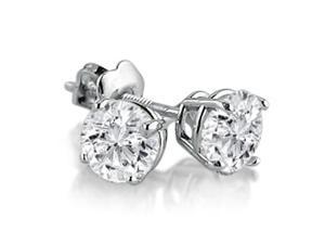 14K White Gold Round Diamond Stud Earrings 1cttw. I2-J/K