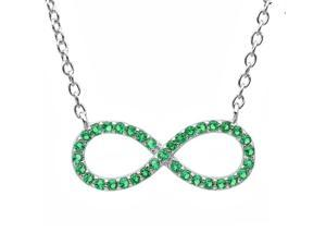 Created Emerald Infinity Necklace in Sterling Silver Adjustable 16-18inch