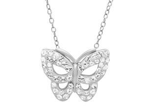 Sterling Silver Butterfly Pendant-Necklace made with Swarovski Crystals