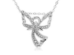 "Amanda Rose Collection Sterling Silver Angel Wing Pendant with Diamond Accent on 18"" Necklace"