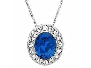 Sterling Silver Crysal Lady Di Pendant-Necklace made with Sapphire Blue and White Swarovski Elements