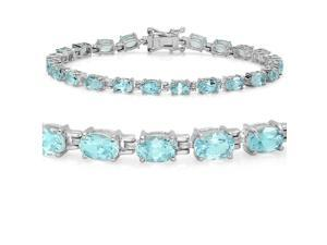 12ct Sky Blue Topaz Tennis Bracelet set in Sterling Silver 7 1/2 inch