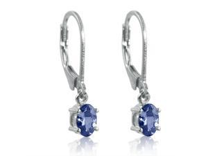 Genuine Tanzanite Lever-Back Earrings in Sterling Silver