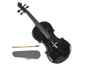 Merano 1/8 Size Black Violin with Case, Bow + Free Rosin