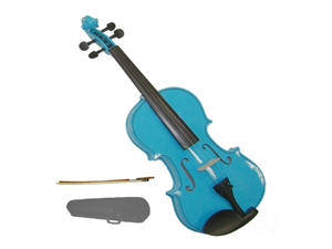 Merano 1/8 Size Blue Violin with Case, Bow + Free Rosin