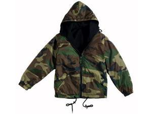 Rothco Woodland Camouflage Reversible Nylon Jacket with Hood