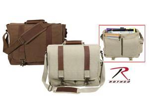 Rothco Leather and Canvas Pathfinder Laptop Bag - Brown