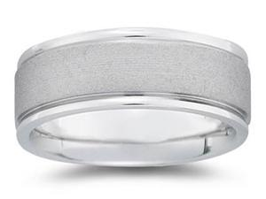 8 mm Brushed Center Comfort-Fit Wedding Band in 14k White Gold